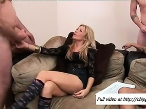Two men jerking massive peckers to ladies at a house party