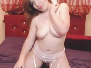 Slow Dildo Penetration in her Tight Pink Pussy