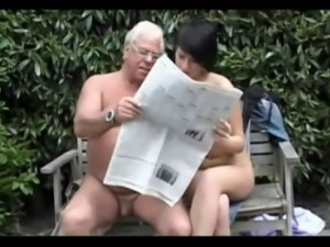 old man (grandpa) fuck beautiful teen in the garden