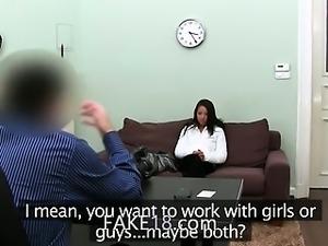Brunette teen teasing fake agent on sofa