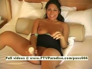 Casandra Ingenious amazing naked brunette babe on the bed