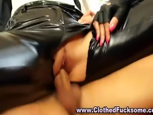 Clothed glamour fucking threesome
