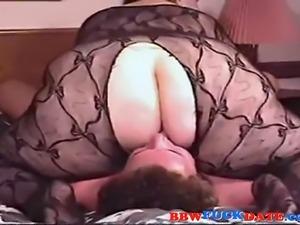 Fat ass BBW sit on poor guys face