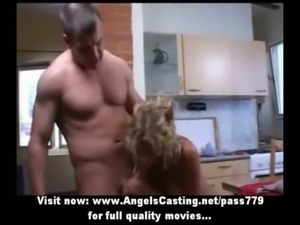 Amateur lovely blonde chick doing blowjob in the kitchen free