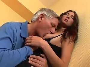 Horny grandpa Christoph Clark is delighting young Kattie Gold with zealous...