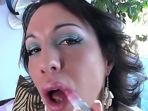 Domina tranny milf Danika Dreamz chokes her sissy guy with her fat cock and...