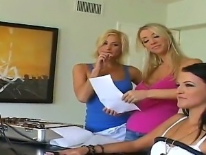 Three lickerish lesbian whores Brandy, Nikki and Sammie Rhodes show hardcore