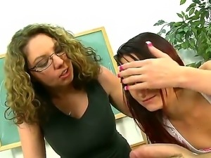 Masty Kiki Daire shows to Missy Sweet how to properly suck a huge cock