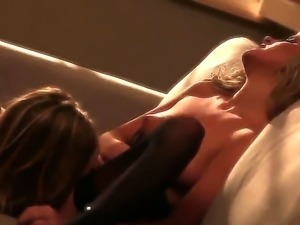Blonde lesbians in black stockings Kelly Surfer and Tatum Woods are going to...