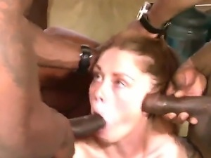 Two ebony gangsters are having interracial creampie action with a cute blonde