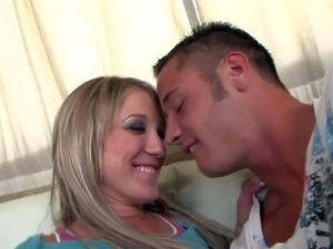 Arousing long haired smoking hot young blonde Amy Brooke with