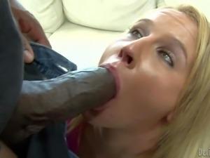 Brave blonde Aria Austin gives big black dicks a try.
