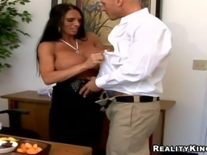 Johnny Sins gets a new and pretty arousing brunette secretary