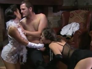 Hot italian brunette babes pleasing lucky soldier