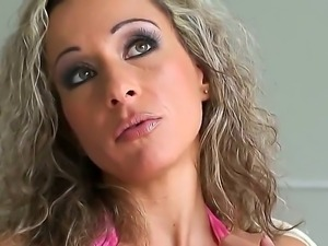Curly haired milf Angie Angel has three way to be fucked and all of them are...