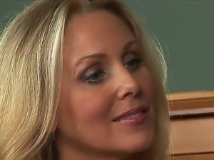 Julia Ann gets her hands on a younger office worker during working time and...