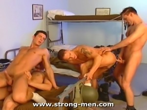 Amazing muscle military hunks in a group sex.