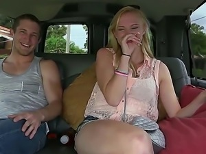 Tight medium boobed blonde chick Sunny Marie took off her blouse in the car...