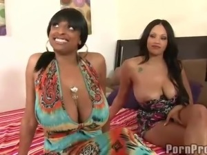 Black and white chicks Ebony and Carmen both with sexy