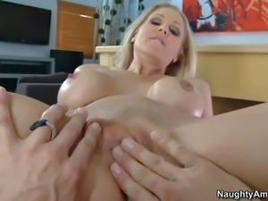 Julia Ann is horny as hell after weeks without sex.