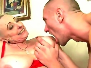 Hardcore scene with a horny granny named Sila and her young and crazy lover