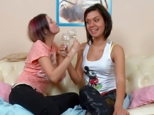 Margaret and Varvara drink champagne before having lesbian sex. Young