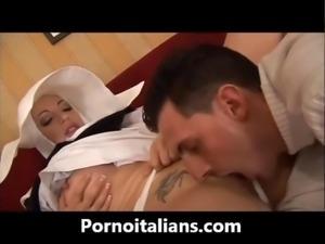 Due cazzi per la suora italiana tettona - nun italian big tits