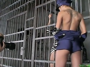 Hot backstage in the jail with amazingly sassy babes Anita Pearl and Sandy