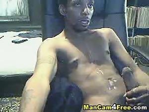 Amateur Black Guy Jerking Off His Cock
