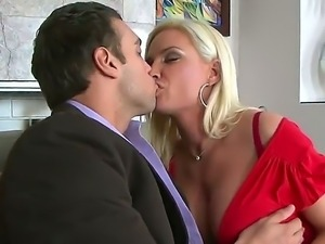 Diamond Foxxx presents her new handsome boss her giant boobs and sucking mouth