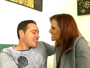 Syren De Mer shows big tits to her step son and tastes his huge delicious pecker