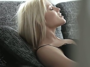 Look at beautiful blonde sex kitten Sweet Cat doing wild thing in ncie stockings