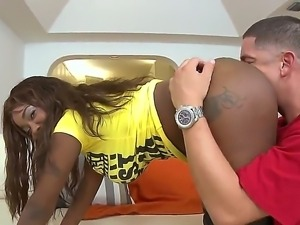 Horny ebony babe with big round ass is getting it worshipped by a white guy...