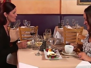 Mature babe seduced a young waitor right at the restaurant after dinner with...