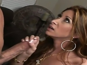 Lusty sexy bitch Tiffany rides and blows a huge cock before a nasty deep...