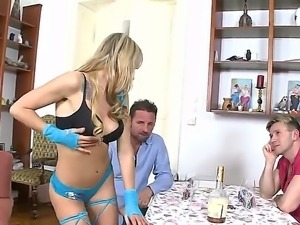 Leyla Black becomes crazy in front of her boyfriend Choky Ice and his best...