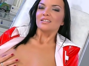 Tanned and sexy brunette Cyrilla with beautiful narrow pussy spreads it with...