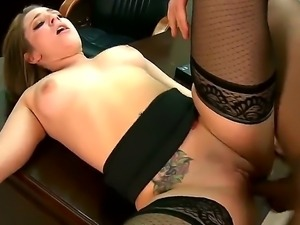Horny chick in stockings Bailey Blue gets severly pounded by her horny boss...