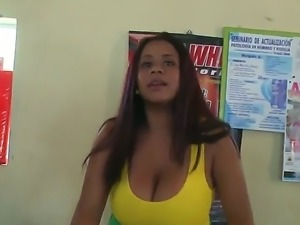 Big tits sexy Carolina pleases by shaking those huge melong and making guys...