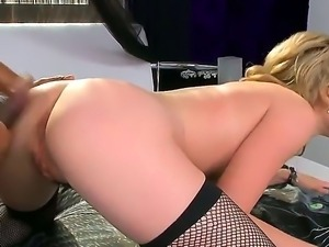 Delicious babe with round forms Lily LaBeau stuffed with a black dick in the...