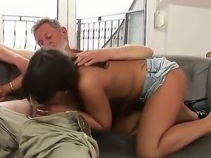 Hot brunette Giggy with sexy tanned skin and all natural body fucks with her...