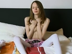 gentle super skinny girl in white socks