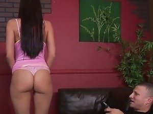 Superb brunette Rachel Starr pleases hunk Mr.Pete by slowly bouncing her big...