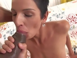 Short haired white lady Klaudia and thick dicked black guy
