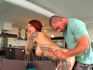 Sexy redhead Mila Treasure lets horny hunk to deep lick her ass and make her...