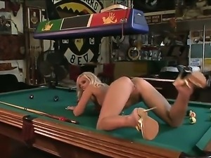 Nasty blonde bitch Angelina Ashe offers a hot billiard game with spicy add-ons!