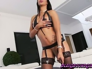 Sexy Shemale Stroking her Mighty She-Cock