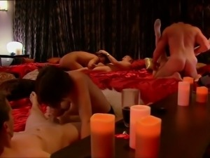 Wild bitches suck and fuck in a playboy orgy