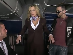 Vips Voodoo and Danny Mountain recive more from flight attendants Tanya Tate...