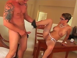 Crazy milf Holly West looks perfect when she puts on her white stockings